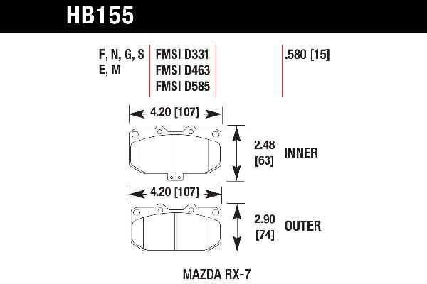 hawk brake pads tech spec diagram HB155