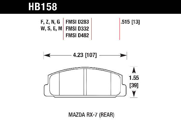 hawk brake pads tech spec diagram HB158