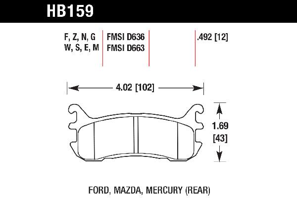 hawk brake pads tech spec diagram HB159
