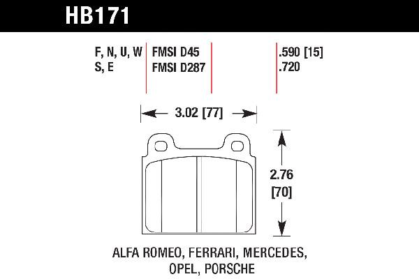 hawk brake pads tech spec diagram HB171