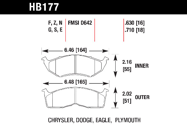 hawk brake pads tech spec diagram HB177
