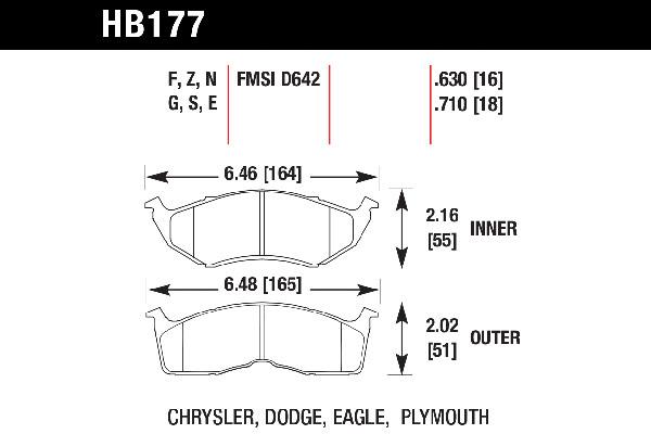 hawk brake pads tech spec diagram HB177