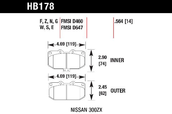 hawk brake pads tech spec diagram HB178