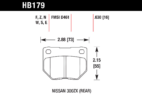 hawk brake pads tech spec diagram HB179