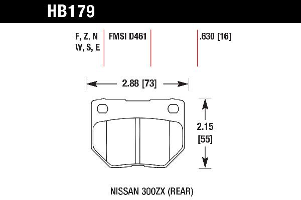hawk brake pads tech spec diagram HB179