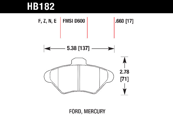 hawk brake pads tech spec diagram HB182