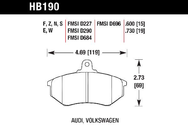 hawk brake pads tech spec diagram HB190