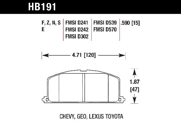 hawk brake pads tech spec diagram HB191