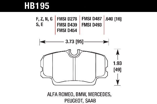 hawk brake pads tech spec diagram HB195