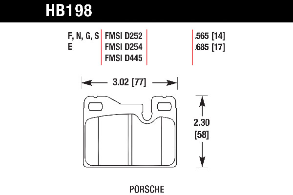 hawk brake pads tech spec diagram HB198