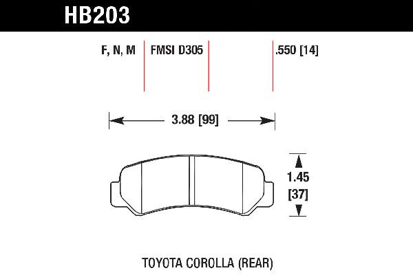 hawk brake pads tech spec diagram HB203