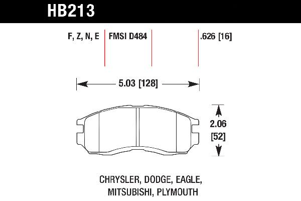 hawk brake pads tech spec diagram HB213