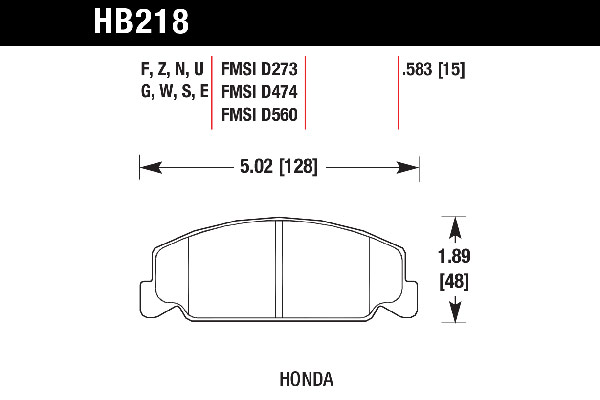 hawk brake pads tech spec diagram HB218