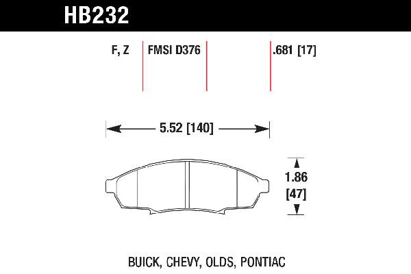 hawk brake pads tech spec diagram HB232