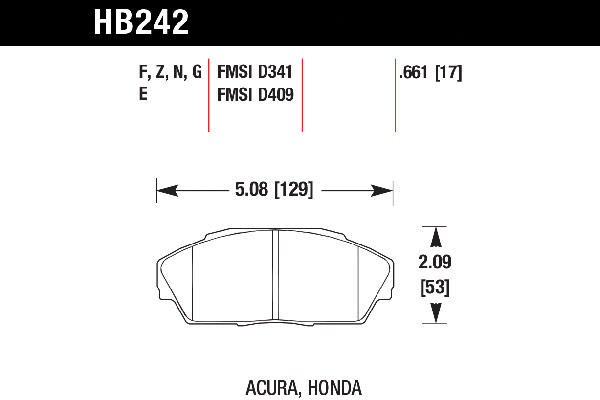 hawk brake pads tech spec diagram HB242
