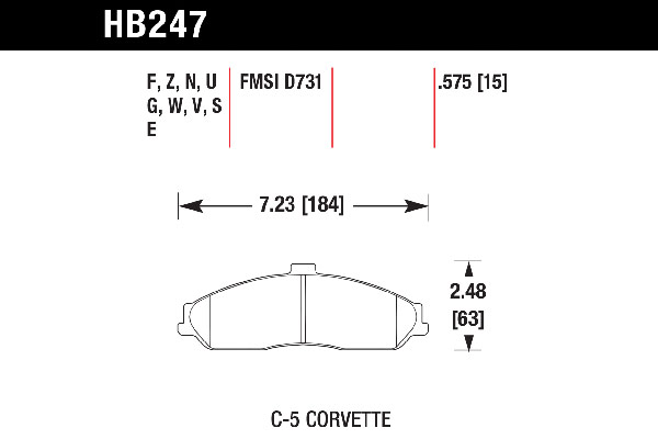 hawk brake pads tech spec diagram HB247