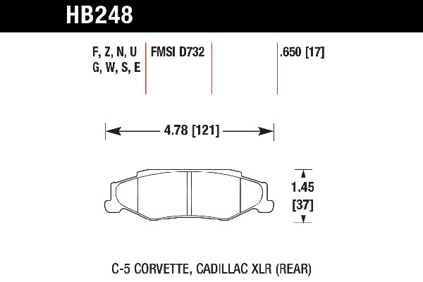 hawk brake pads tech spec diagram HB248