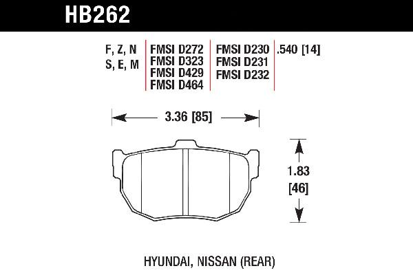 hawk brake pads tech spec diagram HB262