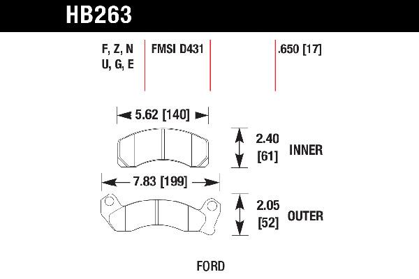 hawk brake pads tech spec diagram HB263
