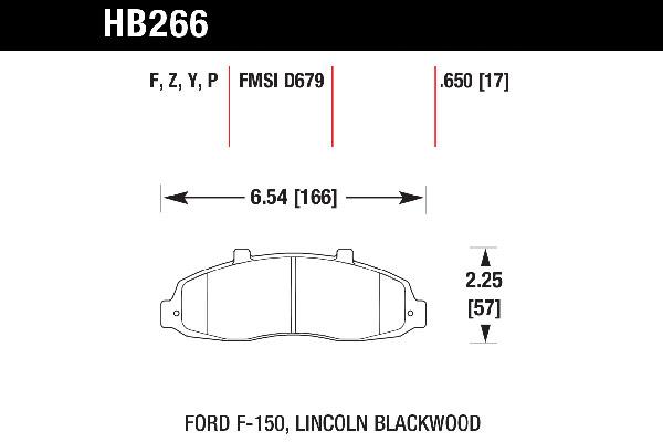 hawk brake pads tech spec diagram HB266
