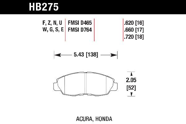 hawk brake pads tech spec diagram HB275