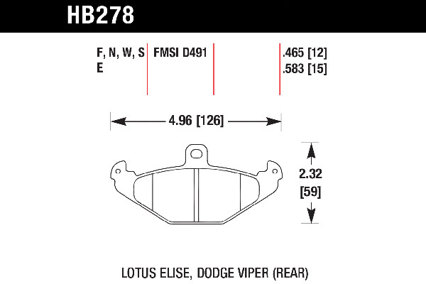 hawk brake pads tech spec diagram HB278