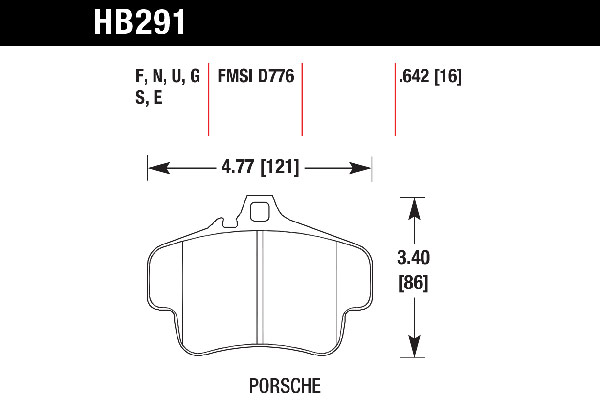 hawk brake pads tech spec diagram HB291