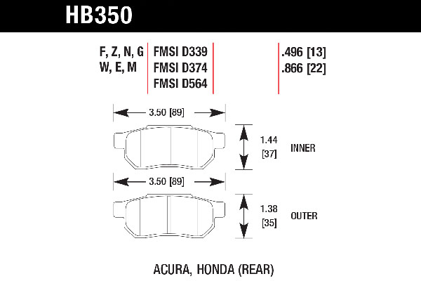 hawk brake pads tech spec diagram HB350