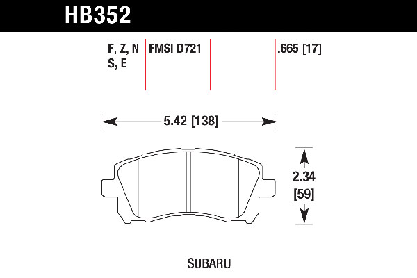 hawk brake pads tech spec diagram HB352