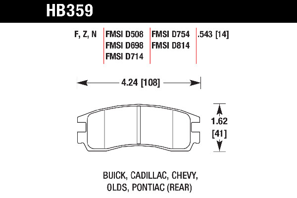 hawk brake pads tech spec diagram HB359
