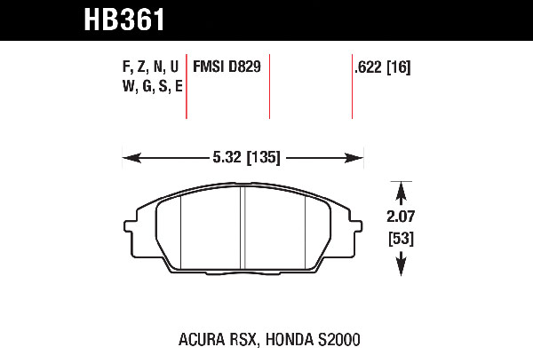 hawk brake pads tech spec diagram HB361