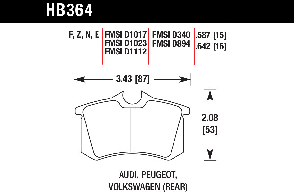 hawk brake pads tech spec diagram HB364