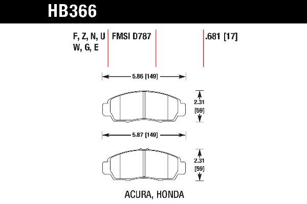 hawk brake pads tech spec diagram HB366
