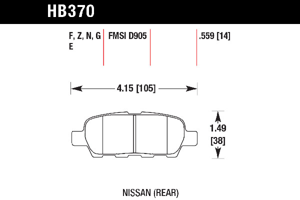 hawk brake pads tech spec diagram HB370