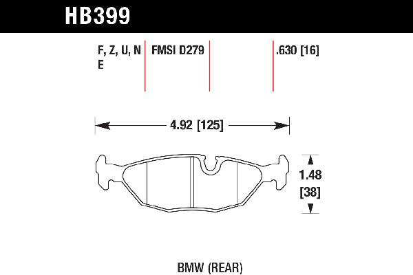 hawk brake pads tech spec diagram HB399