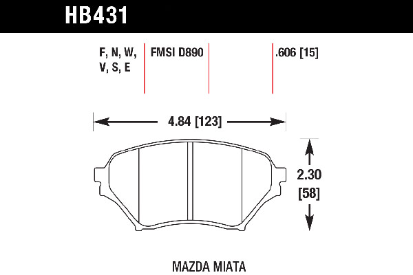 hawk brake pads tech spec diagram HB431