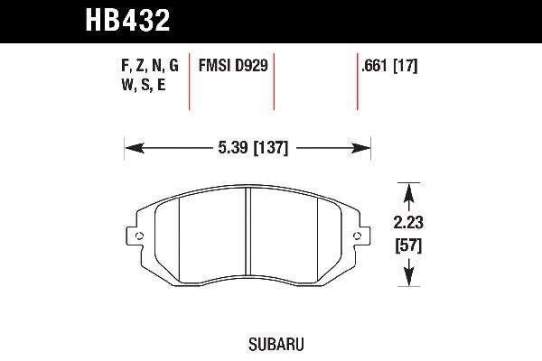 hawk brake pads tech spec diagram HB432