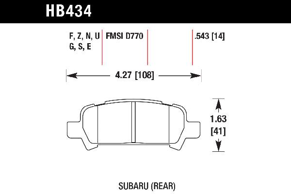 hawk brake pads tech spec diagram HB434