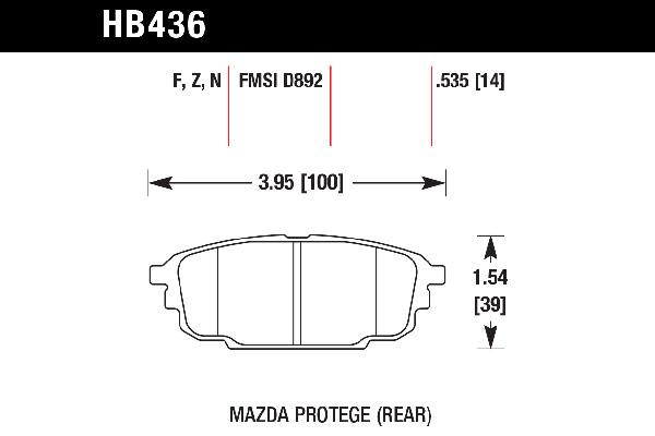 hawk brake pads tech spec diagram HB436