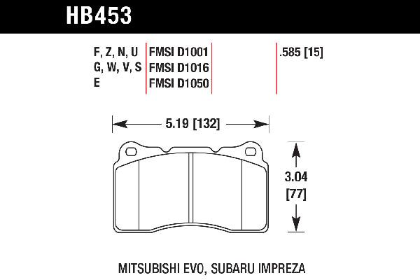 hawk brake pads tech spec diagram HB453