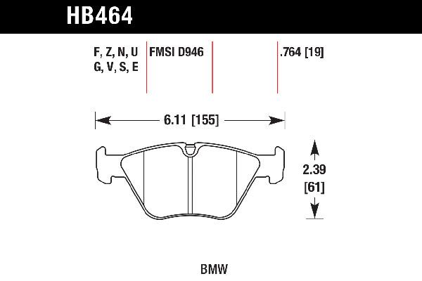 hawk brake pads tech spec diagram HB464