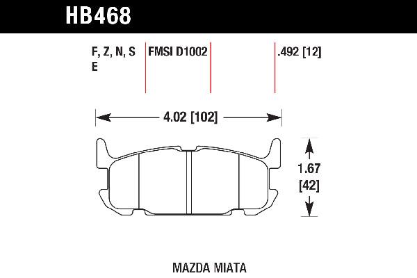 hawk brake pads tech spec diagram HB468