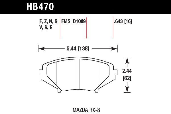 hawk brake pads tech spec diagram HB470