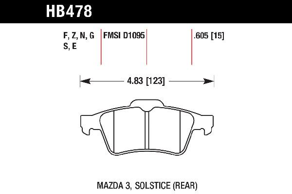 hawk brake pads tech spec diagram HB478