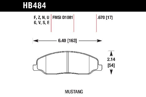 hawk brake pads tech spec diagram HB484