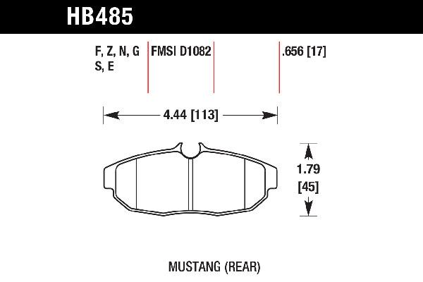 hawk brake pads tech spec diagram HB485