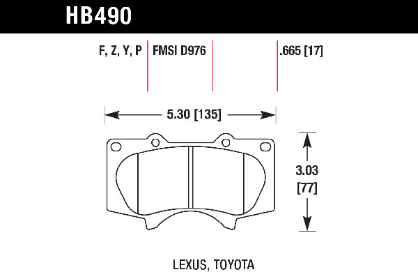 hawk brake pads tech spec diagram HB490