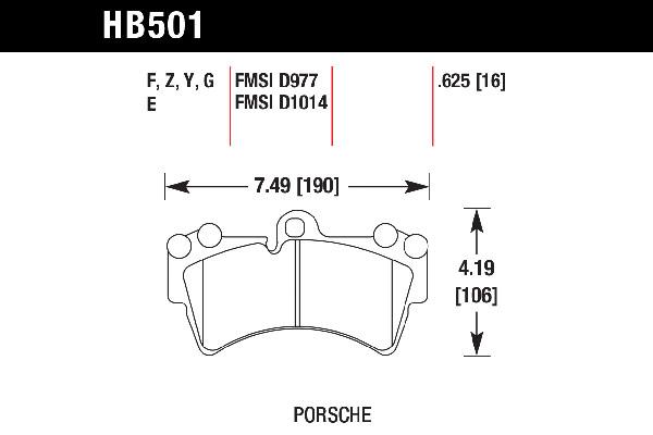 hawk brake pads tech spec diagram HB501