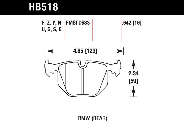 hawk brake pads tech spec diagram HB518