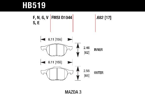 hawk brake pads tech spec diagram HB519